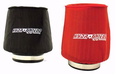 """Picture of Injen Hydroshield Pre-Filter Water Repellant Cover UNIVERSAL 6.75""""BASE X 5""""Tall X 5""""TOP RED/BLACK"""