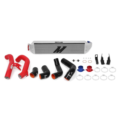 Picture of Mishimoto Honda Civic 1.5T/Si Performance Intercooler Kit 2016+, silver intercooler, red pipes