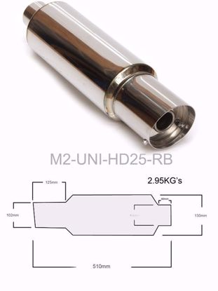 """Picture of M2 300mm MUFFLER 2.5""""I/L 100mm TIP"""